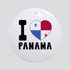 I Love Panama Round Ornament