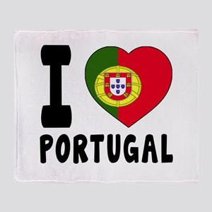 I Love Portugal Throw Blanket