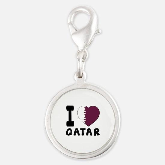 I Love Qatar Silver Round Charm