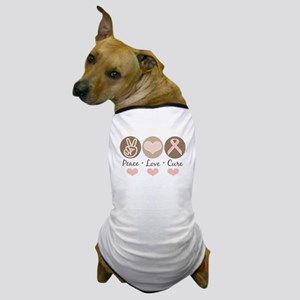 Peace Love Cure Pink Ribbon Dog T-Shirt