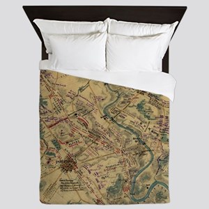 Vintage Antietam Battlefield Map (1862 Queen Duvet