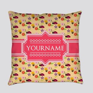 Bee and Ladybug Pattern Personaliz Everyday Pillow