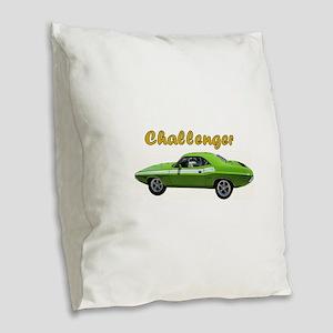 Challenger Green car Burlap Throw Pillow