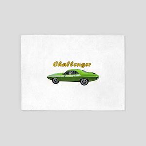 Challenger Green car 5'x7'Area Rug