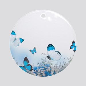 Flowers and Butterflies Round Ornament
