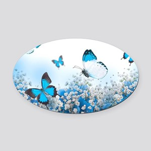 Flowers and Butterflies Oval Car Magnet