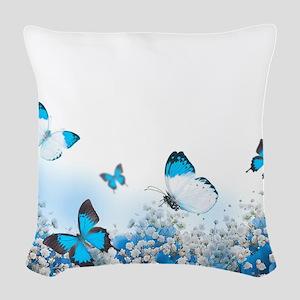 Flowers and Butterflies Woven Throw Pillow
