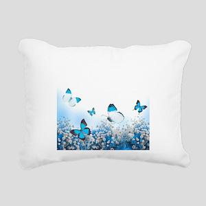 Flowers and Butterflies Rectangular Canvas Pillow