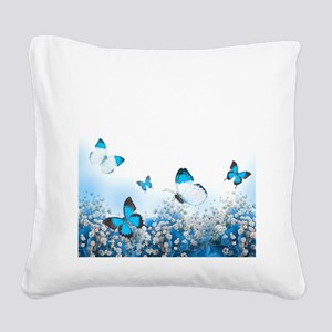 Flowers and Butterflies Square Canvas Pillow