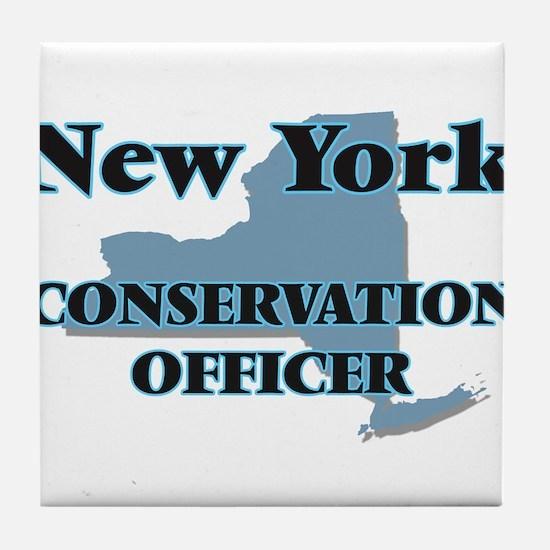 New York Conservation Officer Tile Coaster