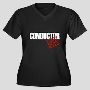Off Duty Conductor Women's Plus Size V-Neck Dark T