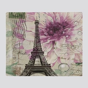 floral vintage paris eiffel tower Throw Blanket