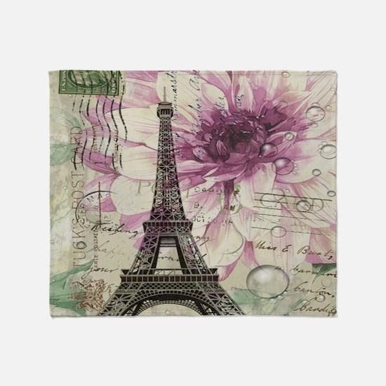 floral vintage paris eiffel tower Throw Blanket