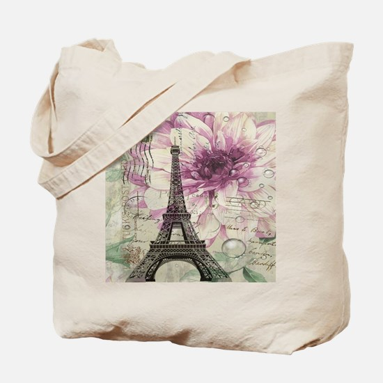 floral vintage paris eiffel tower Tote Bag