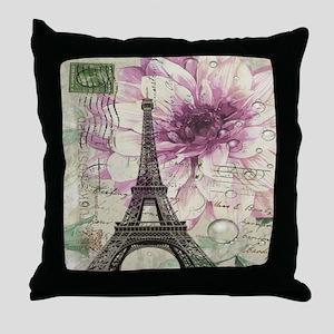 floral vintage paris eiffel tower Throw Pillow