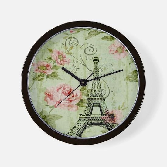 floral vintage paris eiffel tower Wall Clock