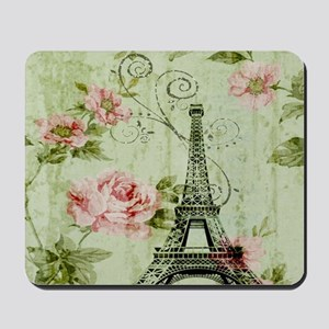 floral vintage paris eiffel tower Mousepad
