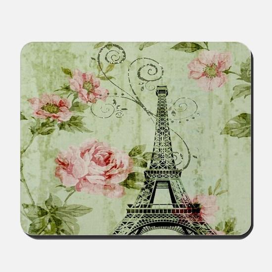 floral vintage paris eiffel tower Mousepad