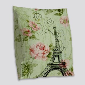 floral vintage paris eiffel to Burlap Throw Pillow