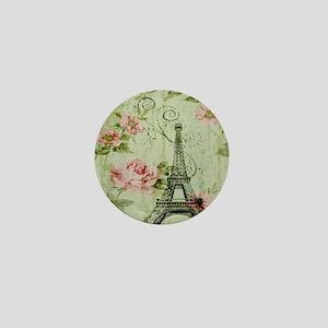 floral vintage paris eiffel tower Mini Button