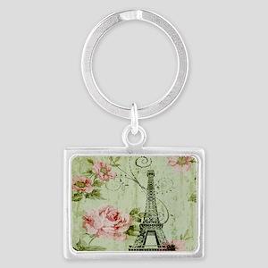 floral vintage paris eiffel tow Landscape Keychain