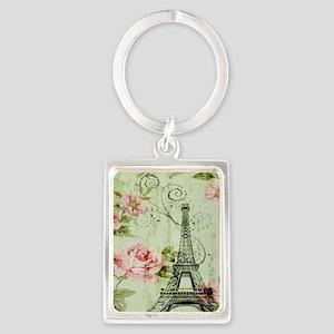 floral vintage paris eiffel towe Portrait Keychain