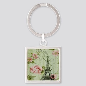 floral vintage paris eiffel tower Square Keychain