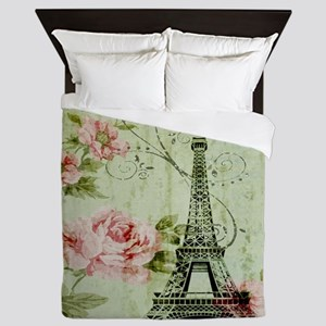 floral vintage paris eiffel tower Queen Duvet