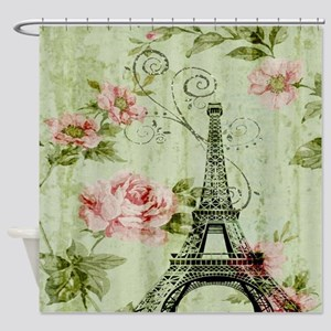 floral vintage paris eiffel tower Shower Curtain