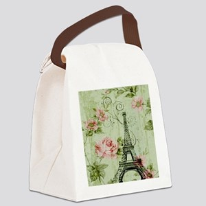 floral vintage paris eiffel tower Canvas Lunch Bag