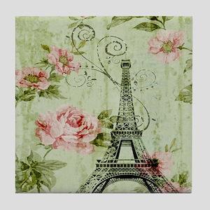 floral vintage paris eiffel tower Tile Coaster
