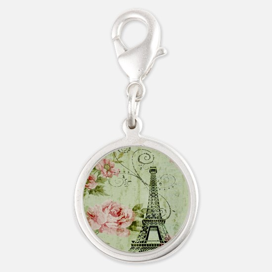 floral vintage paris eiffel to Silver Round Charm