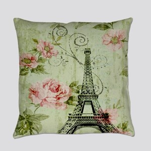 floral vintage paris eiffel tower Everyday Pillow