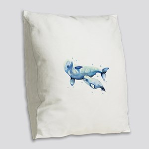 Beluga and Baby Burlap Throw Pillow