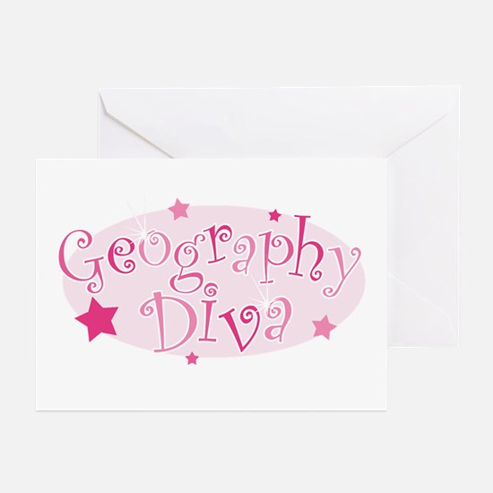 """""""Geography Diva"""" [pink] Greeting Cards (Pk of 10)"""