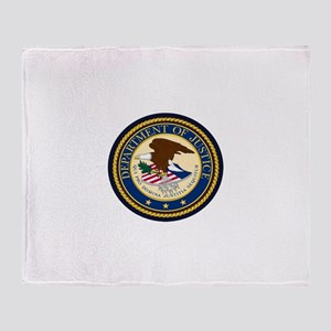 GOVERNMENR SEAL - DEPARTMENT OF JUST Throw Blanket