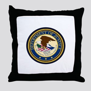 GOVERNMENR SEAL - DEPARTMENT OF JUSTI Throw Pillow