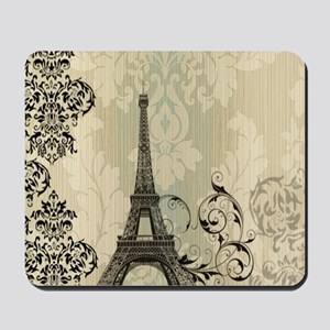 shabby chic swirls eiffel tower paris Mousepad