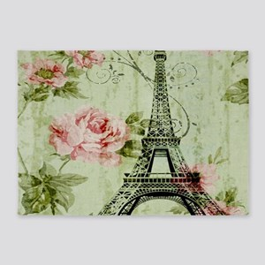 floral vintage paris eiffel tower 5'x7'Area Rug