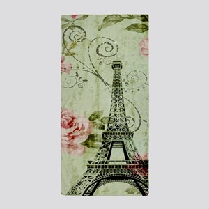 floral vintage paris eiffel tower Beach Towel