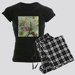 floral vintage paris eiffel Women's Dark Pajamas
