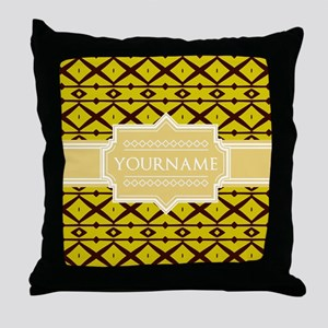 Yellow Pattern Personalized Name Throw Pillow