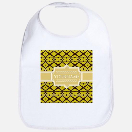 Yellow Pattern Personalized Name Bib