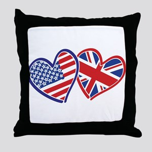 USA and UK Flag Hearts Throw Pillow