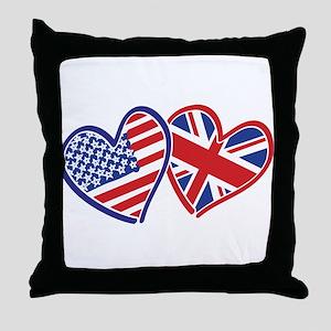 USA and UK Flag Hearts Throw Pillow