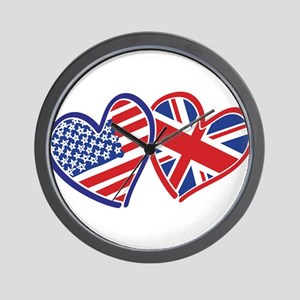 USA and UK Flag Hearts Wall Clock