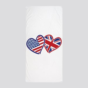 USA and UK Flag Hearts Beach Towel