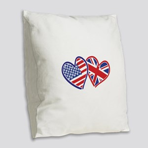 USA and UK Flag Hearts Burlap Throw Pillow