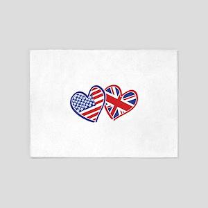 USA and UK Flag Hearts 5'x7'Area Rug