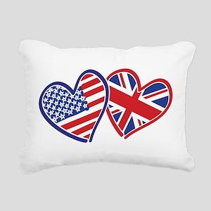 USA and UK Flag Hearts Rectangular Canvas Pillow